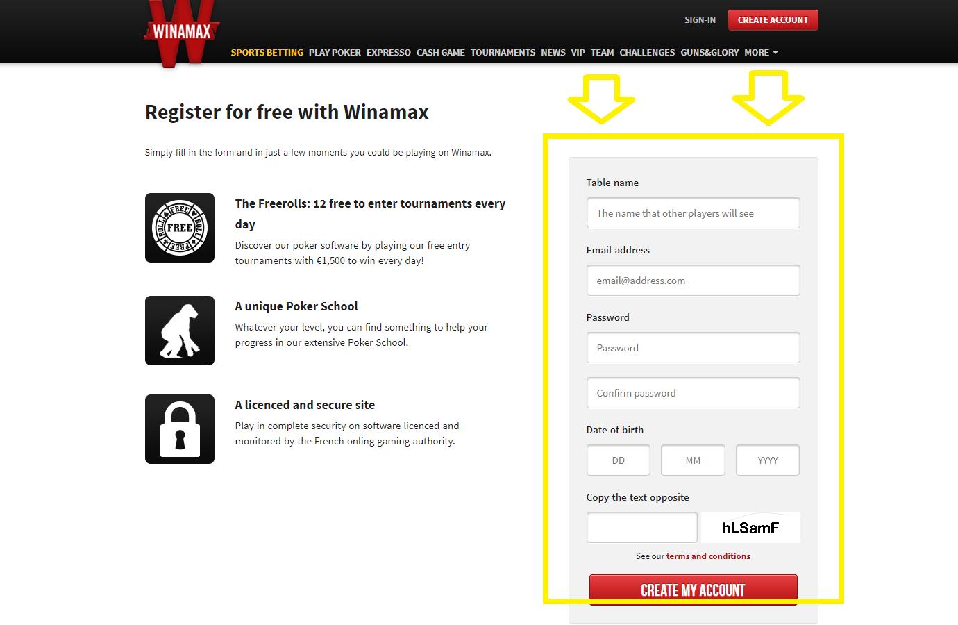 Bonus pour l´inscription de Winamax poker