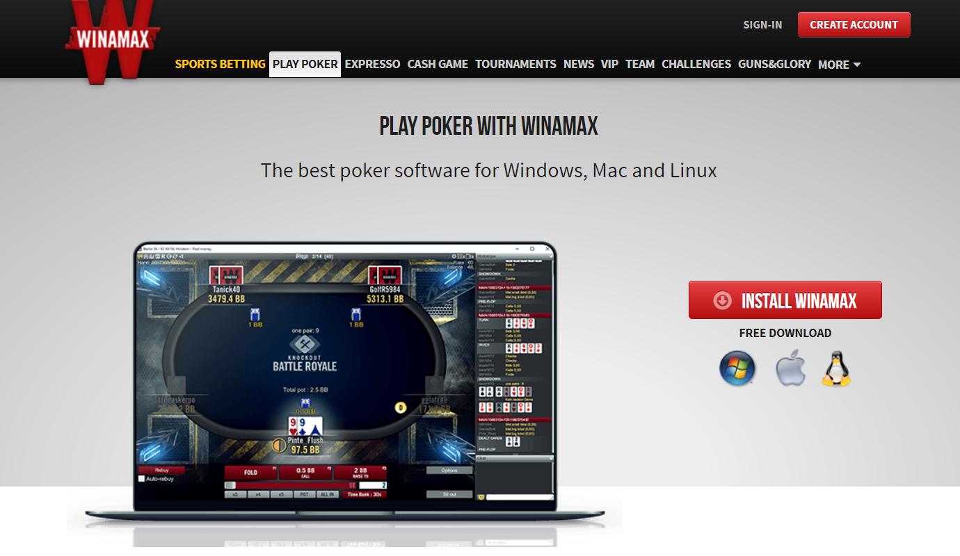 le client de Winamax poker mobile
