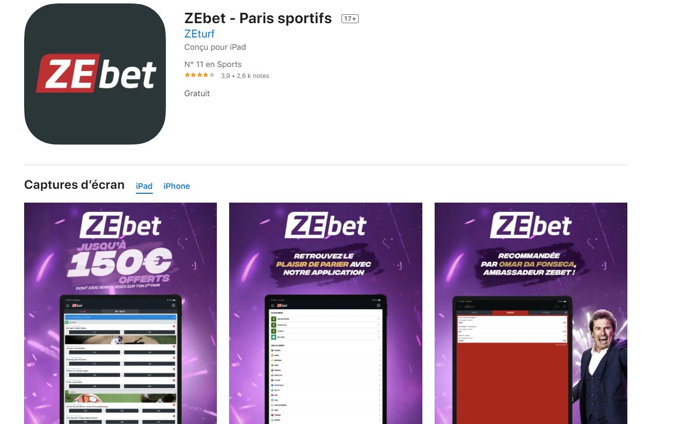 Version mobile ou application de marque Zebet